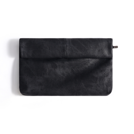 Black Leather-look Solid Color Clutch Bag