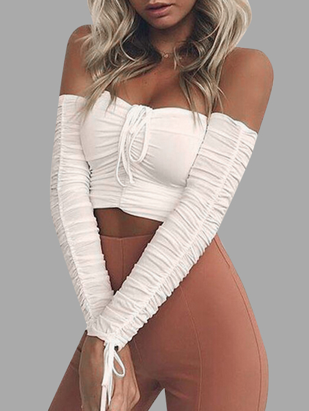 White Drawstring Pleated Off Shoulder Crop Top