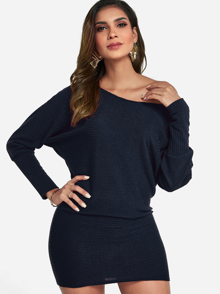 Navy One Shoulder Dolman Sleeve Knitted Dress