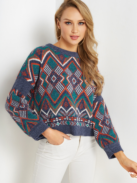 Tribal Print Round Neck Long Sleeves Sweater