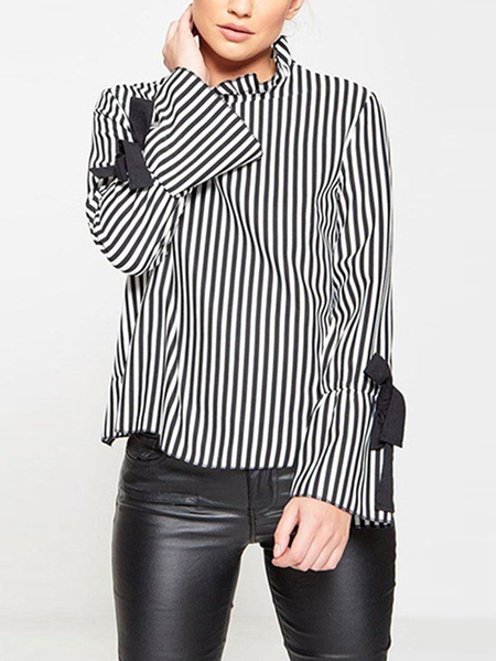 Stripe Lace-up Design Long Sleeves Backless T-shirt