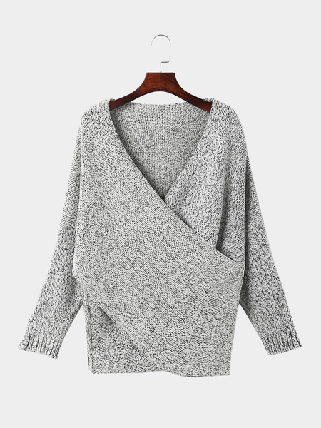 Grey V Neck Crossed Front Irregular Hem Jumper