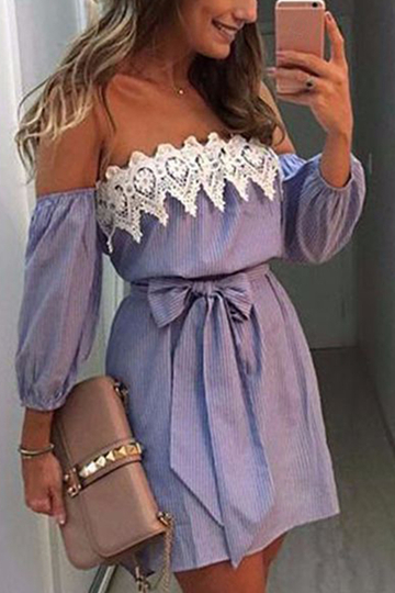 Sexy Off Shoulder Stripe Pattern Self-tie Design Dress