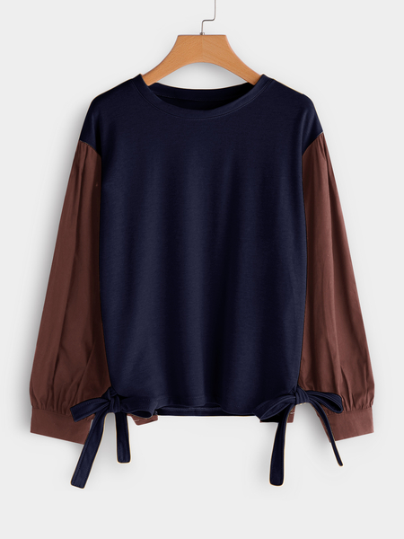 Plus Size Color Block Contrast Self-tie Design Sweatshirt