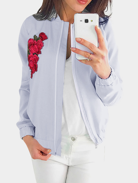 Grey Zip Design Rose Embroidered Long Sleeves Coat