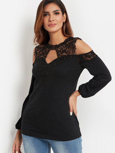 Black Lace Insert Cut Out Plain Cold Shoulder Long Sleeves Tee