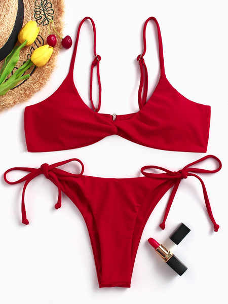 Red Basic Twist Front High Waisted Strings Bikini Set