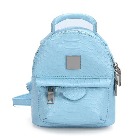 Snake Leather-look Mini Backpack in Blue