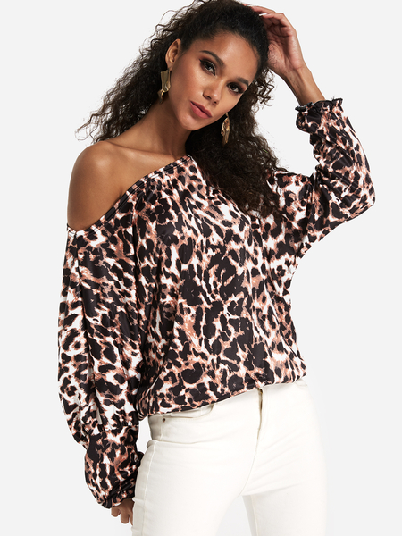 Fashion Coffee Leopard One Shoulder Dolman Sleeves Loose Fit Tee
