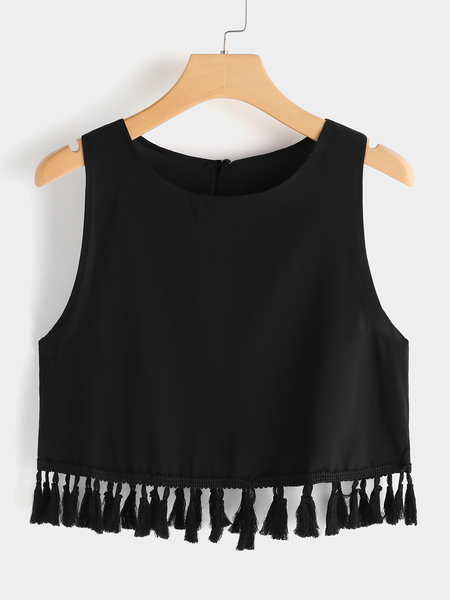 Black Crew Neck Tassel Design Crop Cami
