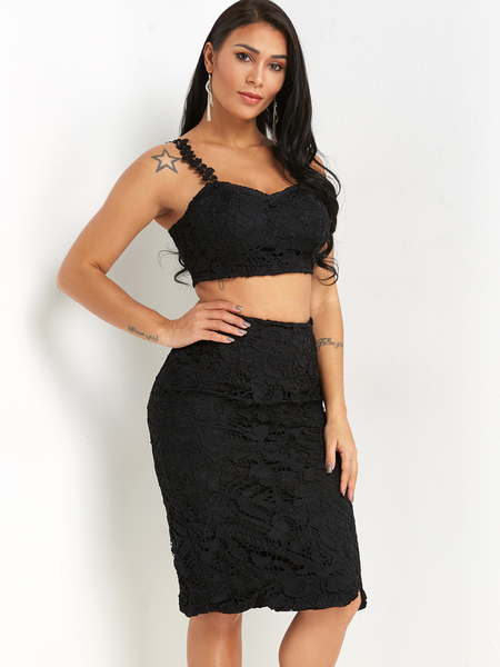 Black Spaghetti Crop Top & Slit Skirt Lace Co-ord