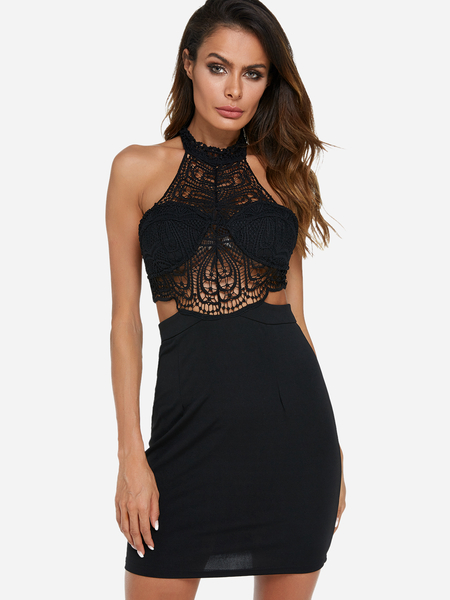 Black Backless Cut-out Design Halter Sleeveless Sexy Mini Dress