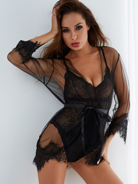 Black Sexy Lace Trim Tie-up Front Pajamas Nightwear