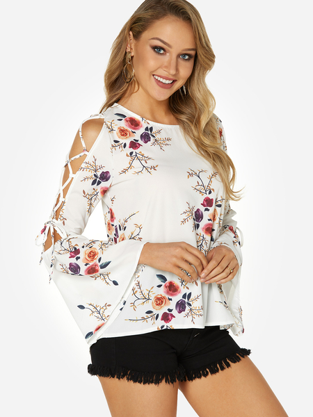 White Lace-up Design Random Floral Print Round Neck Long Sleeves Blouse