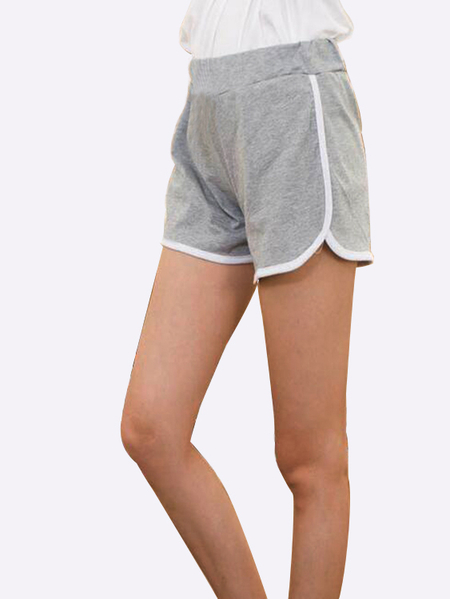 Elastic Mid-waist Sports Shorts in Grey