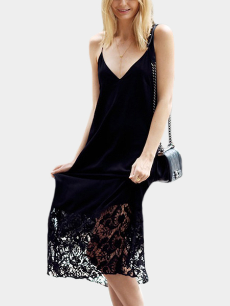 Black Lace Hem Backless Deep V Neck Sleeveles Stitching hems Midi Dress