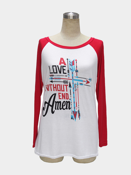 Red Round Collar Raglan Sleeve Top with Letter and Arrow Print