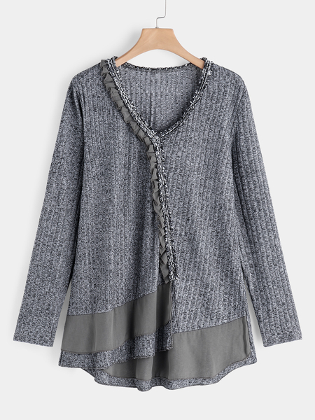 Plus Size Grey Chiffon Inset Knit Sweater