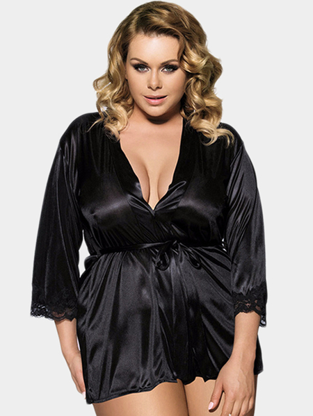 Plus Size Black Lace Trim Kimono Nightwear Robe