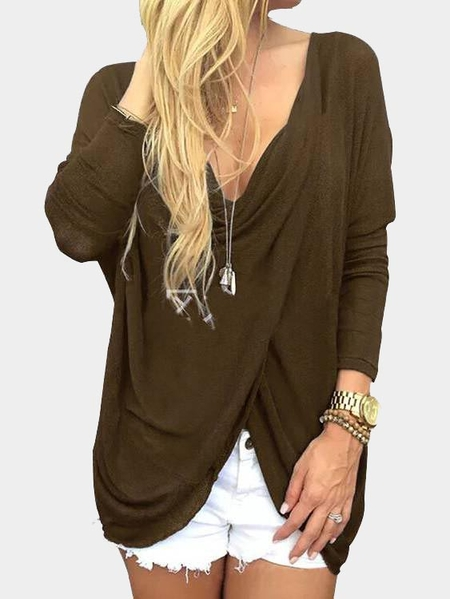 Khaki Cross Front Deep V-neck Asymmetrical Top