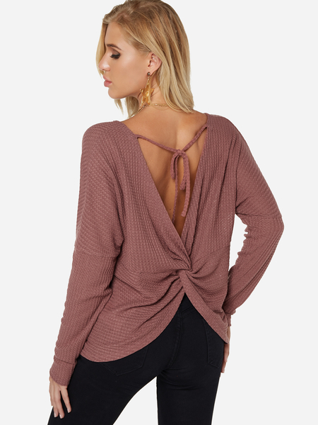 Rust Backless Design Round Neck Long Sleeves T-shirts