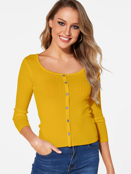 Yellow Single Breasted Design Scoop Neck 3/4 Length Sleeves T-shirts