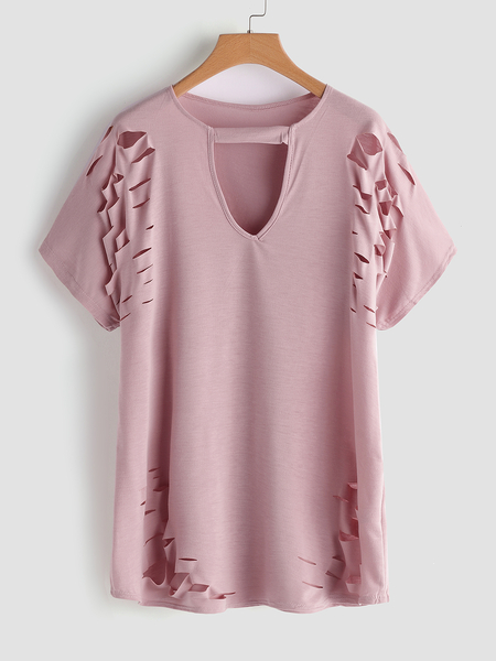 Plus Size Pink Cut Out Design T-Shirt