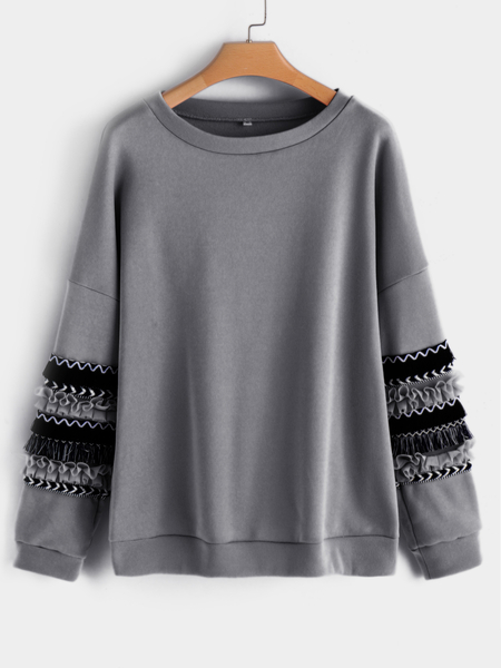 Grey Crew Neck Long Floral Prin Flounced Details Sleeves Sweatshirts