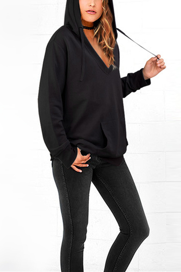 Black V-neck Pouch Pocket Long Sleeves Hoodie