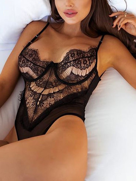 Black See-through Eyelash Trims Floral Lace Teddy Lingerie