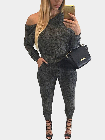 Dark Gray Drawstring Waist Casual Jumpsuit with Two Pockets