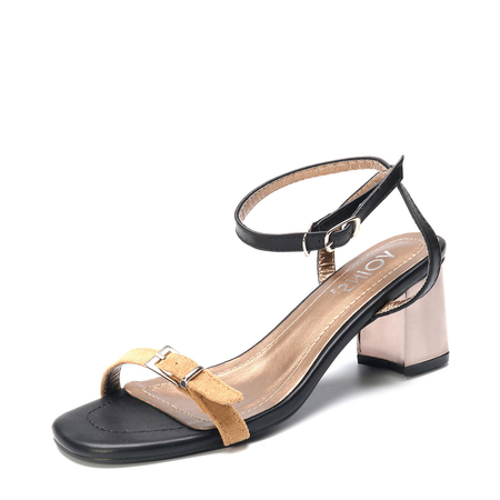 Apricot Chunky Heel Strap Ankle Sandals