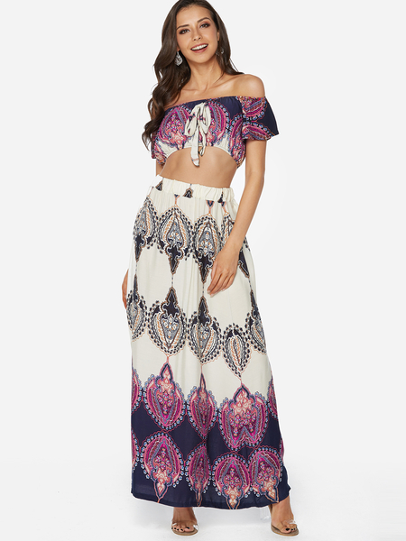 Floral Print Off-shoulder Short Sleeves Elastic Strap Bohemian Co-ord