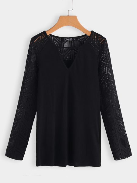 Black Lace Hollow Design V-neck Long Sleeves Blouse