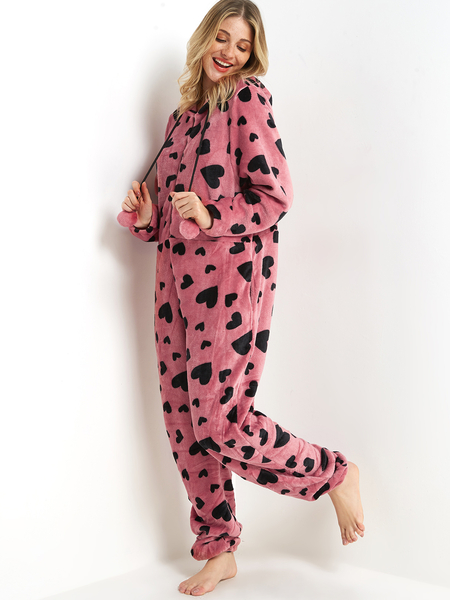 Pink Love Print Front Zip Side Pocket Fleece Hooded Onesie