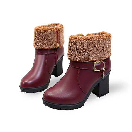 Burgundy Buckle detail Fur Lining Warm Boots