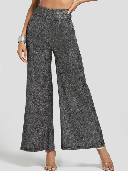 Grey Wide Leg High Waisted Shiny Pants