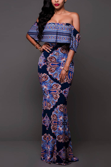 Navy Off Shoulder Random Floral Fishtail Maxi Dress