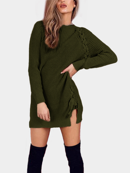 Green Lace Up Details  Long Sleeves Mini Sweater Dresses