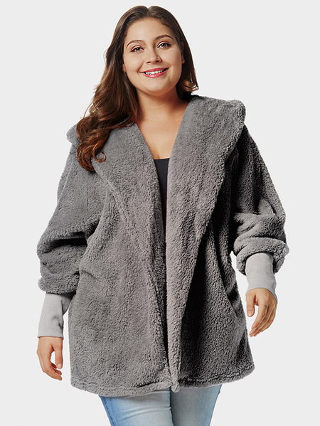 Plus Size Grey Hooded Dolman Sleeve Faux Fur Coat