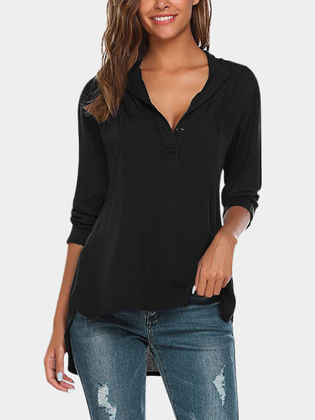 Black Single Breasted Design V-neck Long Sleeves Blouses
