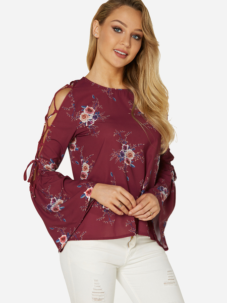 Burgundy Lace-up Design Random Floral Print Round Neck Long Sleeves Blouse