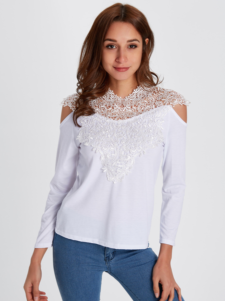 White Lace Insert Cold Shoulder Long Sleeves Sexy T-shirt