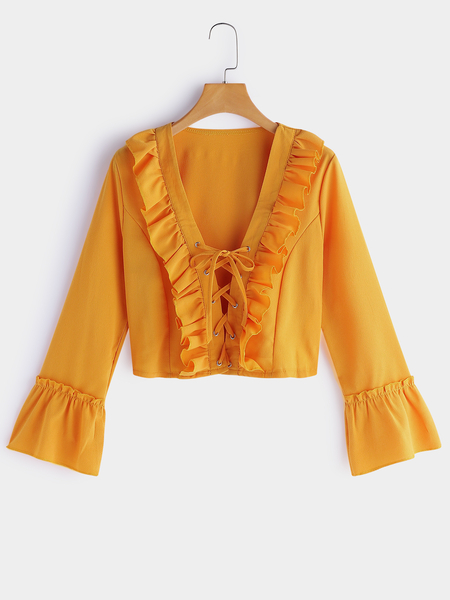 Yellow Lace-up Design V-neck Long Sleeves Tops