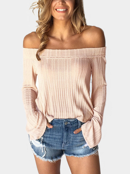 Apricot Solid Color Off Shoulder Flared Sleeves Top