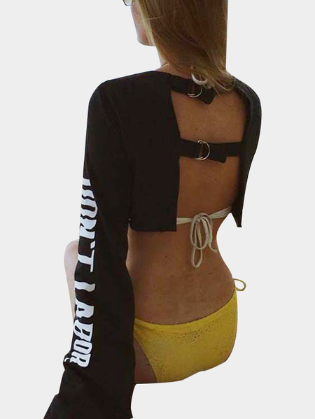 Black Active Round Neck Cut Out Letter Pattern Backless Design Crop Sweatshirt