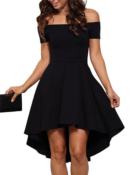 Black Sexy Off Shoulder Irregular Hem Dress