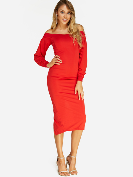 Red Backless Design Off Shoulder Long Sleeves Sexy Dress