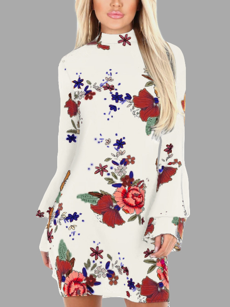White Random Floral Print Perkins Collar Flared Sleeves Dress