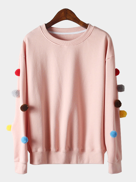 Pink Long Sleeves Round Neck Sweatshirt with Pom Pom Details